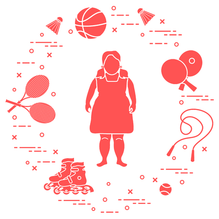 Fat girl, badminton rackets and shuttlecocks, tennis and basketball balls, rackets and balls for table tennis, jumping-rope, rollers. Sports and healthy lifestyle from childhood.  イラスト・ベクター素材