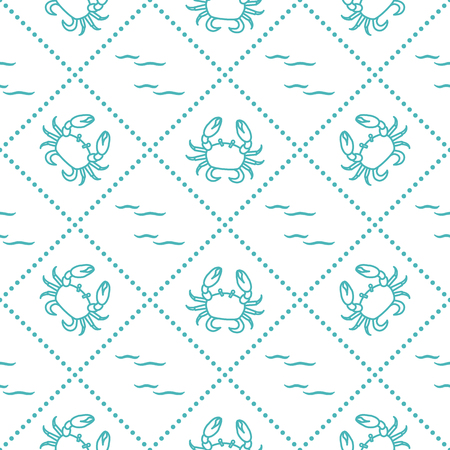 Seamless pattern with crabs and waves. Design for banner and print. Illusztráció