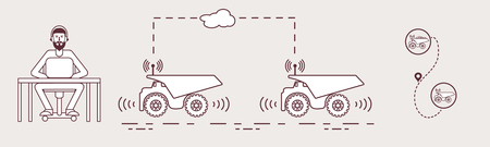 A Smart transportation and trucking. Monitoring and control of trucking. 矢量图像