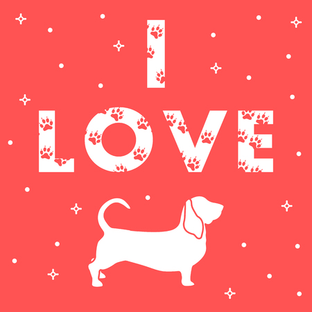 Phrase I Love and dog. The message is decorated with traces for Template for design, print. Illusztráció