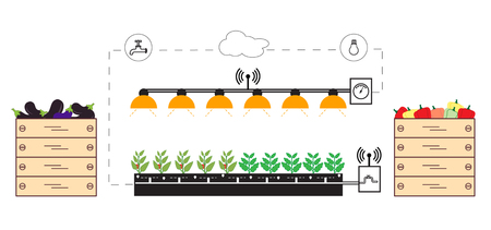 A Smart farm and agriculture. Monitoring and control of temperature isolated on plain background.