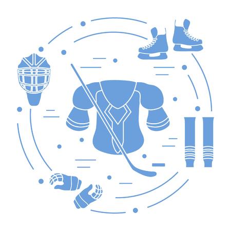 Hockey equipment Winter sports elements vector illustration