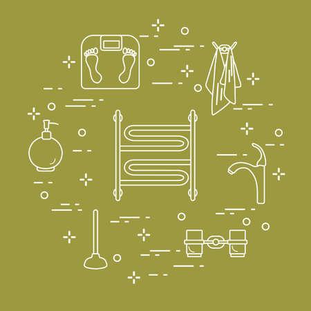 Bathroom elements: scales, towel warmer, faucet, plunger, glasses, soap dispenser, towels vector illustration