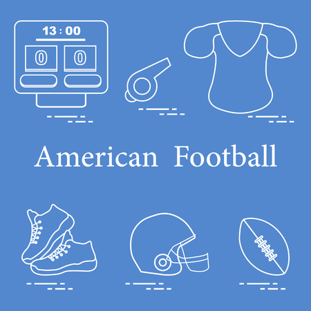 Equipment for american football, rugby. Electronic scoreboard, whistle, clothes, sneakers, helmet, ball.