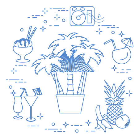 Bar on the beach in Monochrome Illustration.