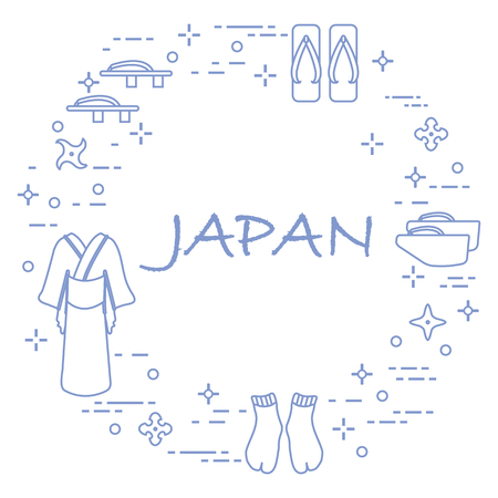 Japan traditional design elements. Illustration