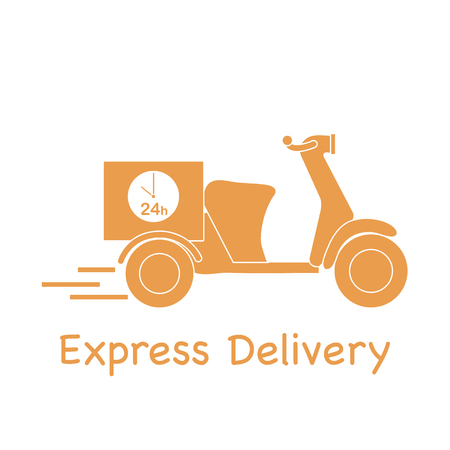 Delivery motorbike, with express delivery text.