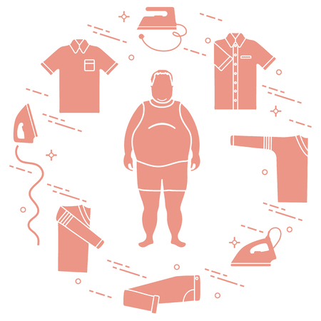 Fat man in silhouette illustration. 일러스트