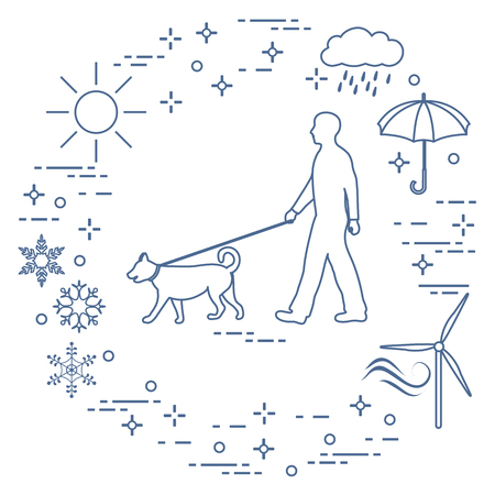 Man walking a dog on a leash in any weather. Illustration