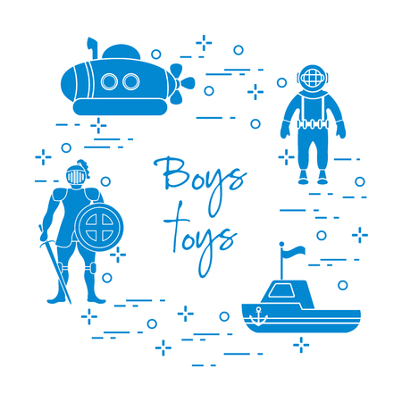 Boys toys elements in colored silhouette illustration. Vettoriali
