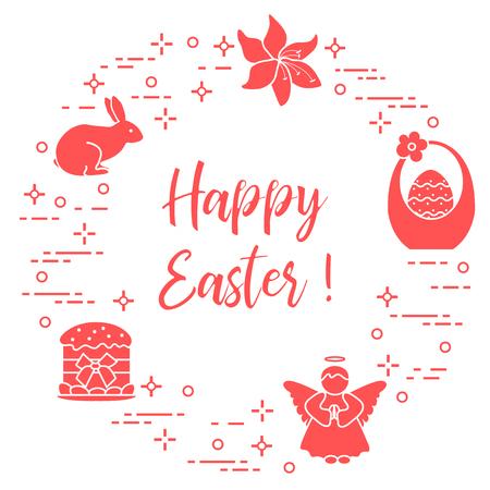 Easter symbols in Monochrome illustration. Ilustração