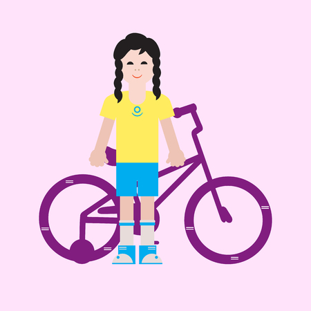 Girl and her bike. Sport and active leisure.