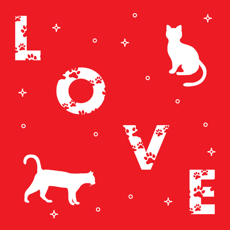 Word: Love. The message is decorated with traces of a cat. Cats. Template for design, print. 矢量图像