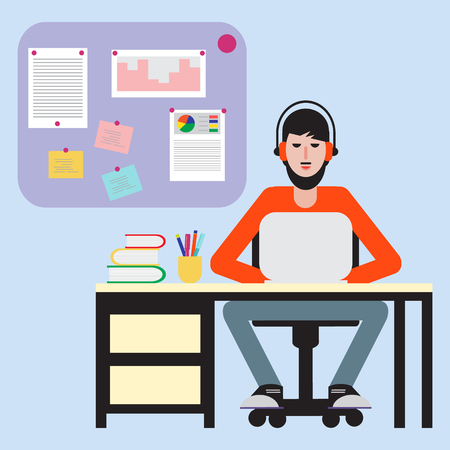 Man sitting at table and working on laptop. Workspace. Illustration