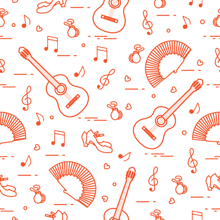 Traditional symbols of Spain seamless pattern design.