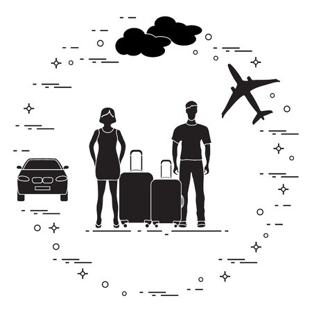 Man and woman with suitcases, summer vacation illustration. Vectores