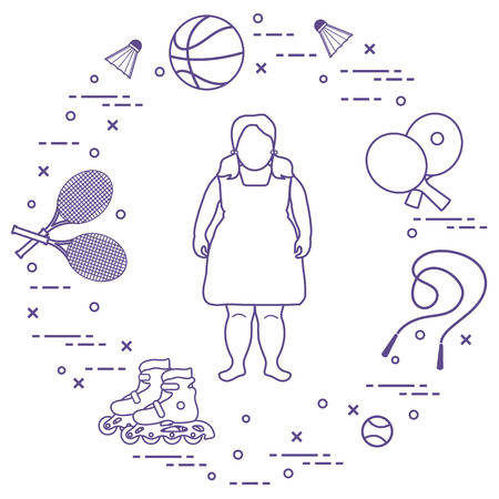 Fat girl, badminton rackets and shuttlecocks, tennis and basketball balls, rackets and balls for table tennis, jumping-rope, rollers. Sports and healthy lifestyle from childhood. Ilustração