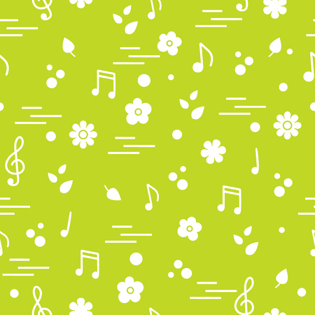Seamless pattern of notes, flowers, leaves. Template for design, fabric, print. Illustration