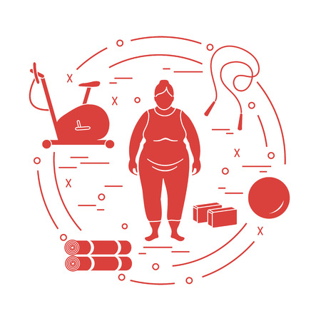 Fat woman and different sports equipment. Healthy lifestyle. Exercise bike, skipping rope, fitball, yoga bricks and mat. Illustration