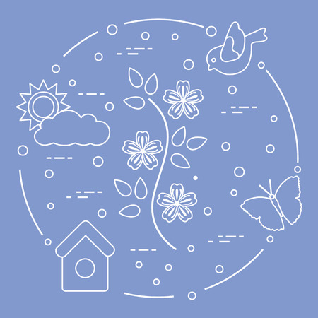 Sun, cloud, bird, flower, butterfly, birdhouse. Spring theme. Template for design, print.