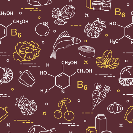 Seamless pattern with foods rich in vitamin B6. Strawberry, orange, chicken, milk, dairy products, yogurt, cherries, fish, tomato, garlic, walnuts, carrots, spinach, cabbage, pepper.