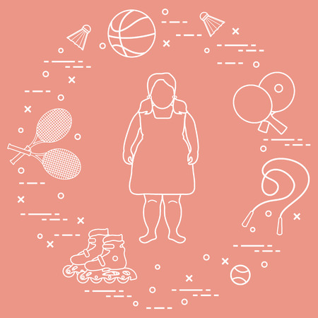 Fat girl, badminton rackets and shuttlecocks, tennis and basketball balls, rackets and balls for table tennis, jumping-rope, rollers. Sports and healthy lifestyle from childhood. Illustration