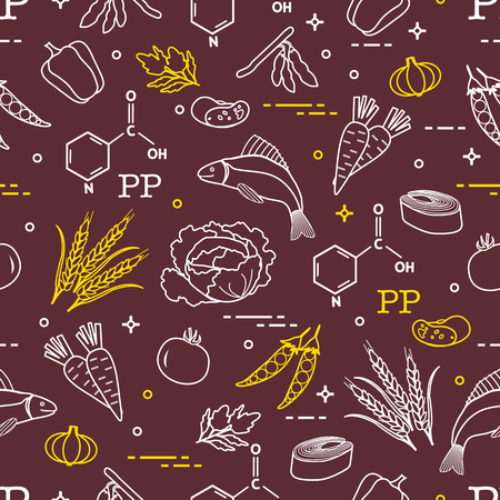 Seamless pattern with foods rich in vitamin PP. Beans, fish, tomato, soya beans, peas, garlic, wheat, carrots, spinach, cabbage, pepper. Ilustracja