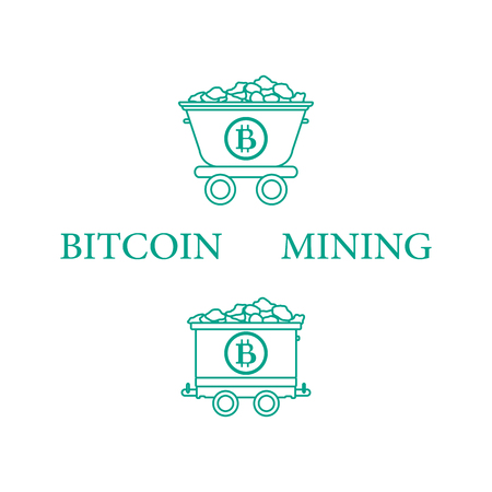 Mining of bitcoins. Mining bitcoins trolleys with ore. Digital currency. Blockchain technology.