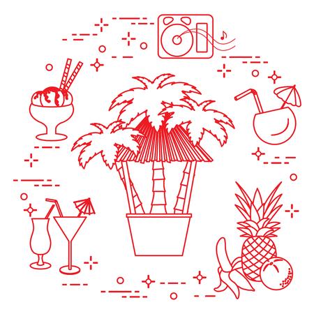 Bar on the beach, palm trees, cocktails, ice cream, music speakers, banana, pineapple, orange. Illustration
