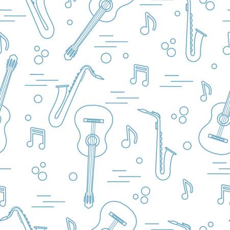Modèle sans couture avec saxophones, notes, guitares. Instruments de musique.