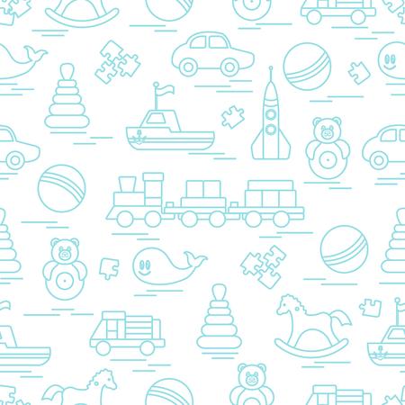 Nahtloses Muster mit Kinderspielzeug. Zug, Autos, Bälle, Schaukelpferd, Pummelchen, Wal, Rätsel, Pyramide, Boot.