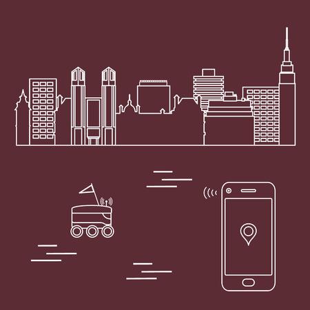 Livraison en ville avec un robot. Expédition rapide et pratique. Livraison gratuite.