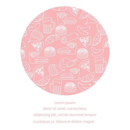 Cerveza, diferentes tipos de comida y comida rápida. Diseño para banner e impresión.