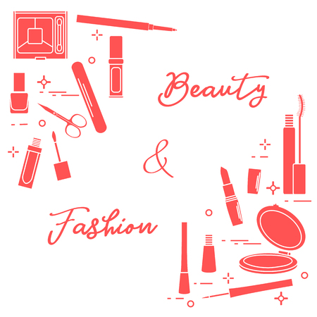 Decorative cosmetics. Accessories for nail care. Glamour fashion vogue style.