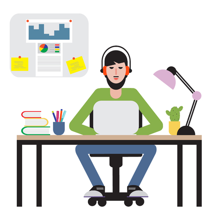 Man sitting at table and working on laptop. Workspace. Vectores