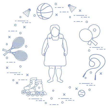 Chica gorda, raquetas y volantes de bádminton, pelotas de tenis y baloncesto, raquetas y pelotas de tenis de mesa, saltar la comba, rodillos. Deporte y estilo de vida saludable desde la infancia.