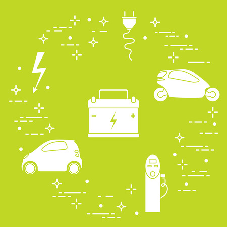 Electric cars, battery, charging station, electrical safety sign, cable, electrical plug. New transport eco technologies. Illustration