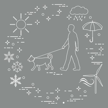 Man walking a dog on a leash in any weather. Sun, cloud, rain, umbrella, snowflakes, wind, wind generator. Vector Illustration