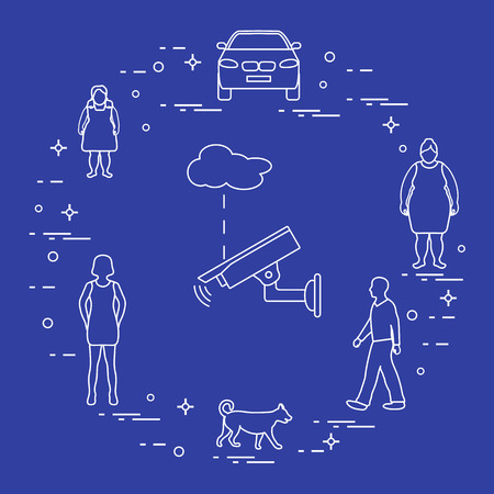 Security camera and women, girl, man, dog, car. Protection of private property. Detection of offenses and ensuring the safety of driving. Illustration