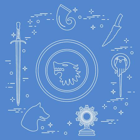 Symbols of the popular fantasy television series. Art and cinema theme. Illusztráció