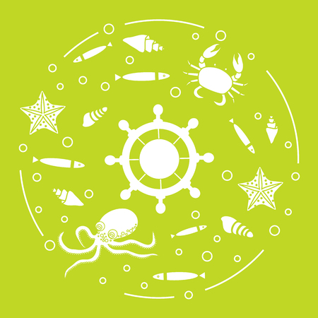 Steering wheel and sea inhabitants: fish, seashells, starfish, crab, octopus. Design for banner, poster or print.