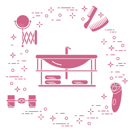 Bathroom elements: washbasin, faucet, glasses, razor, towels, mirror, combs. Bathroom interior design. Illustration