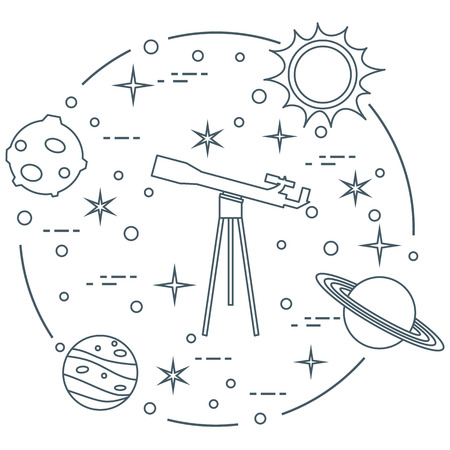 Science concept vector illustration: telescope, sun, moon, planets, stars. Space exploration. Astronomy.