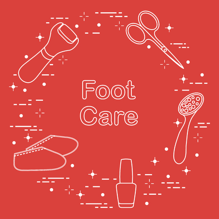 Tools for pedicure. Nail polish, electric foot file, pumice, scissors, silicone socks. Personal care. Illusztráció