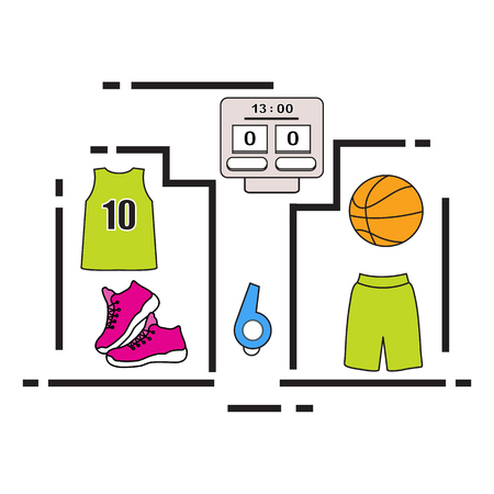 Sports uniform and equipment for basketball. Scoreboard, shirt, shorts, sneakers, whistle, ball. 矢量图像