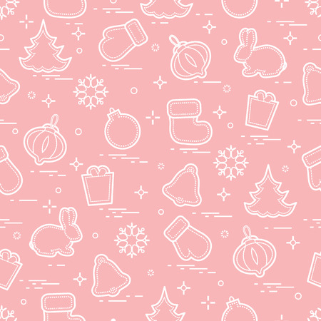 New Year and Christmas seamless pattern. Winter holidays. Design for banner, poster or print.
