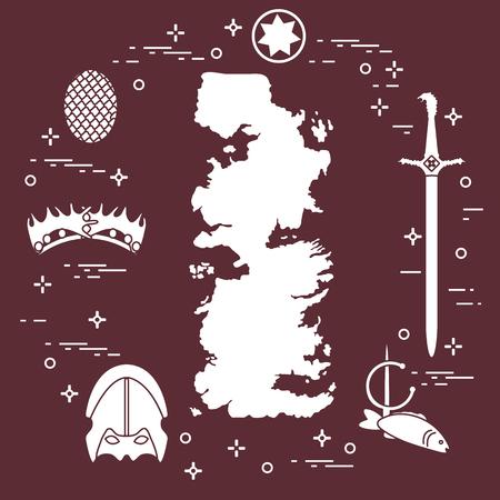 Symbols of the popular fantasy television series. Art and cinema theme. Çizim