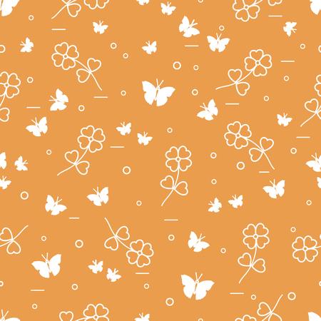 Seamless pattern with shamrock and butterflies. Saint Patrick's Day. Irish clover St. Patrick's.