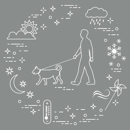Hombre paseando a un perro con una correa en cualquier clima. Sol, nube, lluvia, viento, molinillo, copo de nieve, termómetro, mes, estrellas.