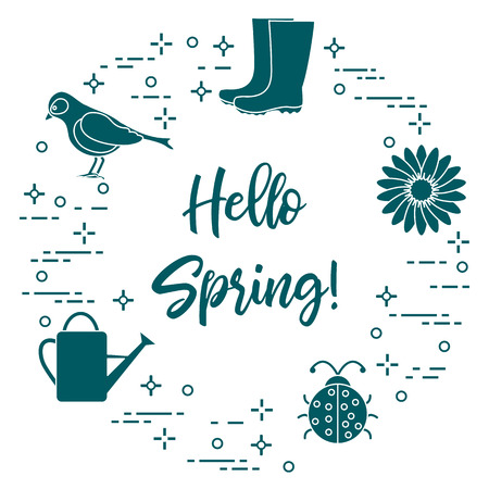 Rubber boots, bird, flower, watering can, ladybug. Phrase: Hello spring. Template for design, print.